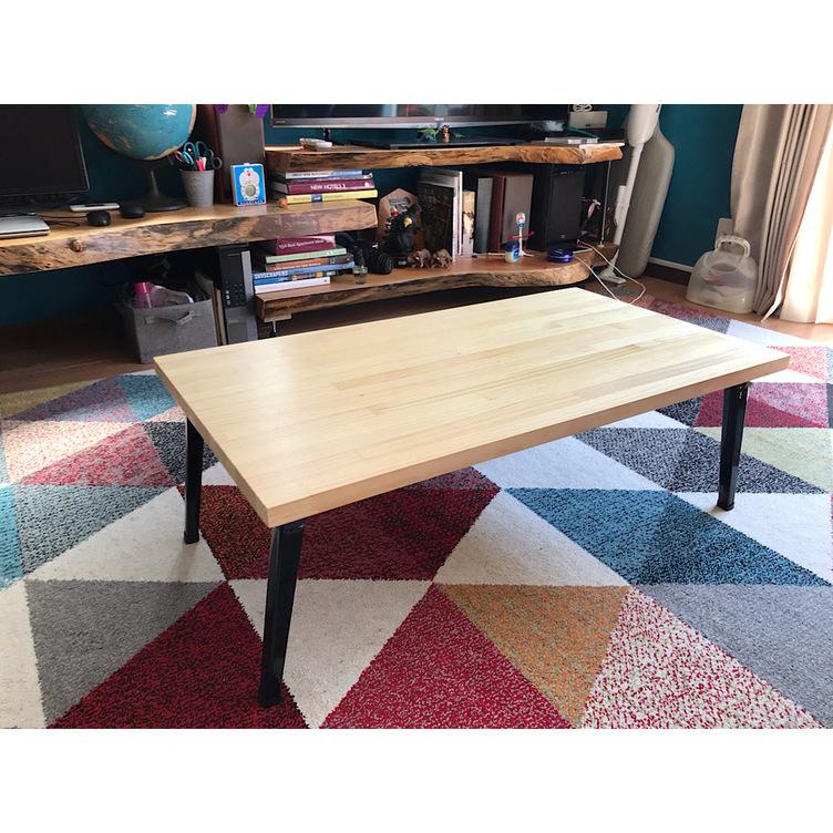 〓栄町工房〓 集成材ローテーブル 折りたたみ 角脚 ナチュラル