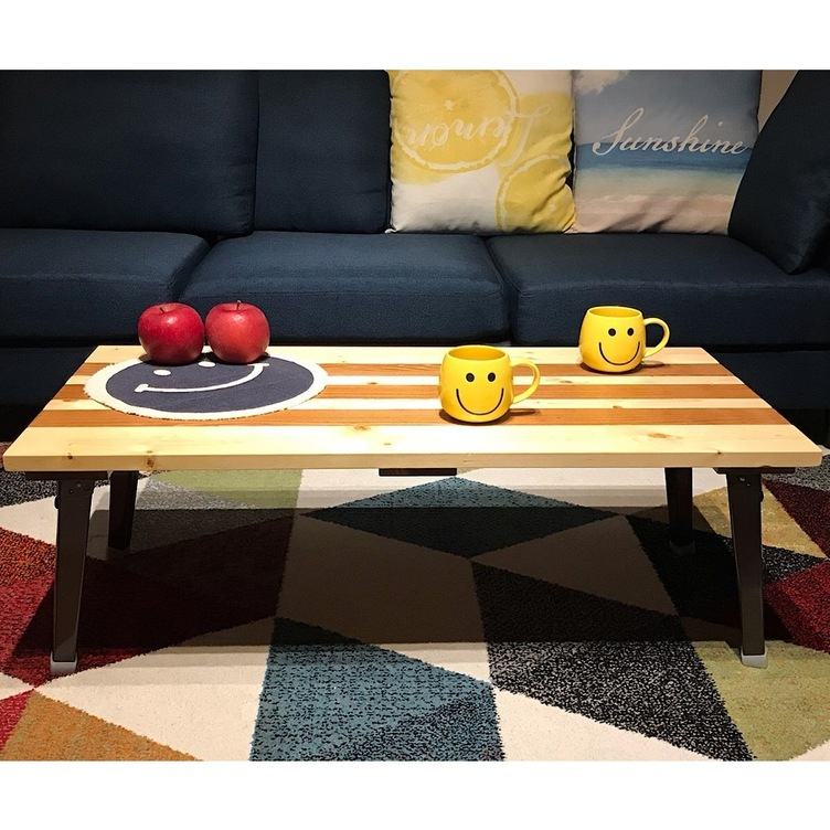 〓栄町工房〓 SPF折りたたみローテーブル《ストライプ》